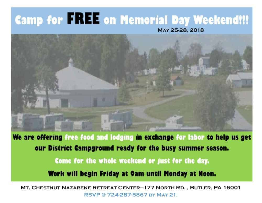 Spend Memorial Day Weekend with us for free and help us with our Work Weekend.