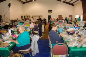 Photo of the Mt. Chestnut Nazarene Retreat Center's Multi-Purpose Building being used for a scrapbooking event.