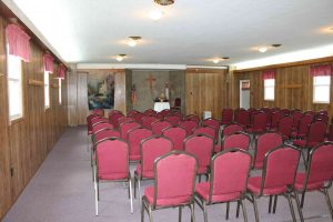 This is the Mount Chestnut Nazarene Retreat Center Chapel set up for a meeting.