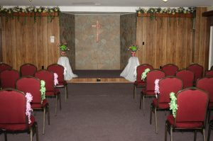 This is inside the chapel, set up for a small wedding.