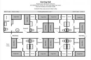 Diagram showing the layout of Gorring Hall.