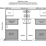 Diagram of floor plan layout for Oak Grove lower level.