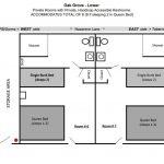 Diagram of floor plan layout for Oak Grove lower level.