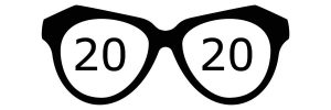 Pair of eyeglasses with the number 20 in each lens to visualize our 20/20 Capital Improvements vision for 2020.