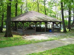 Photo of the Fuller Pavillion picnic shelter at Mt. Chestnut Nazarene Retreat Center.